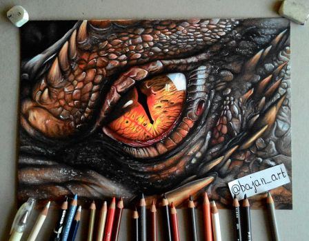 Smaug eye drawing by Bajan-Art
