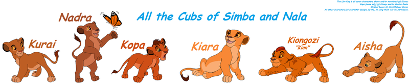 All the Cubs of Simba and Nala by Pacster13