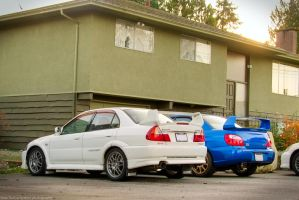 Evo V vs WRX STI by SeanTheCarSpotter