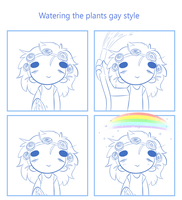Watering the plants gay style by SmokyJack