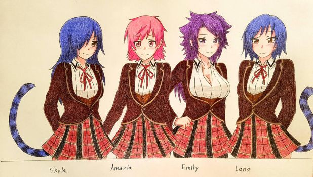 Skyla, Amaria, Emily and Lana~ (commission) by XxSgtCampbell