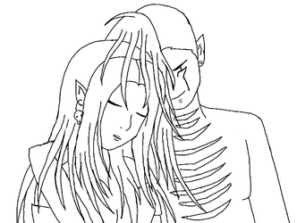 Victor and Decaya line art by JouYasha