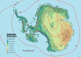 Habitable Antarctica: Precipitation + temperature by schreibstang
