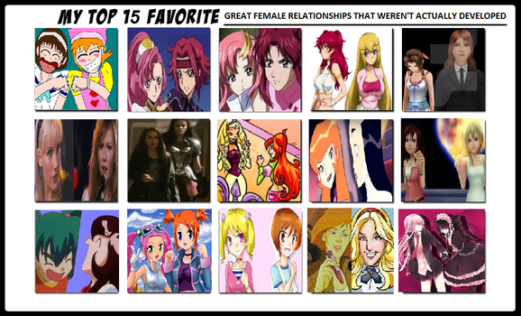 Top 15 Not Developed Female Relationships by DogPoundMan