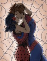 Commission ~ Marinette and Spider-Man by MarieJaneWorks