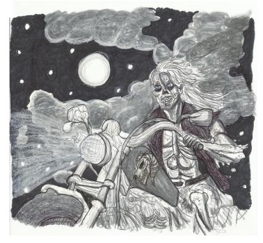 Zombie Rocker riding into the night.. by Crystal-Marine