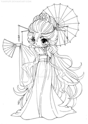 Magnificent Kimono Chibi Lineart: CONTEST! by YamPuff