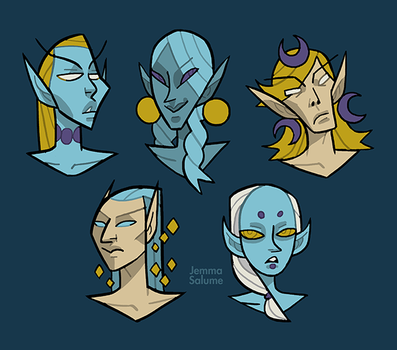 High Elf Portraits by oxboxer