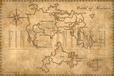 World of Balance Map (FFVI) by clairedelune2501