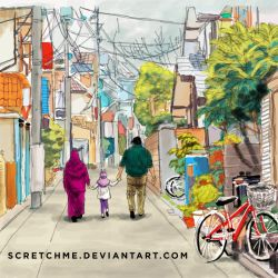 study of japan street + my family by scretchme