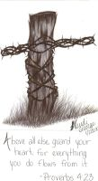 Barbwire and Cedar Cross by KriticKilled