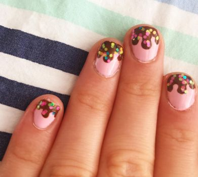 Strawberry Icecream and Chocolate Sauce Nail Art by AnonymousRabbitLover