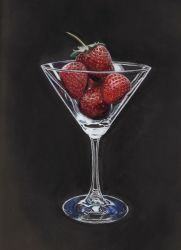 Strawberries in a martini glass by LuthienneTinuvielle