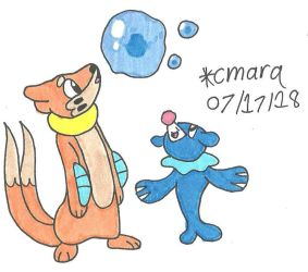 Buizel and Popplio play with bubbles by cmara
