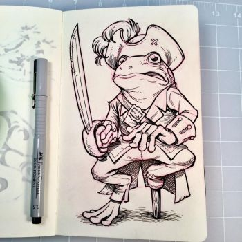 Inktober Day 17 - PIRATE FROG by D-MAC