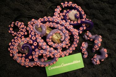 tentacle necklace + earrings set: purple ombre by daniellebritton