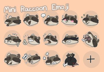 raccoon emoji by ccartstuff