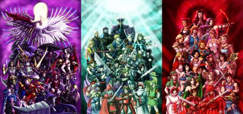 Final Fantasy: Villains, Heroes and Heroines by ryuuza-art