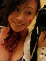 Horror Neck Wound Makeup 2 by samoyed16