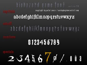 Resident Evil / Biohazard Game Font version 7.8 by Snakeyboy