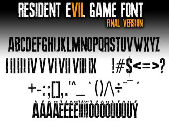 Resident Evil 7 biohazard GAME FONT final Version by Snakeyboy