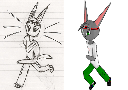 Keno the Cat - Before and After - 2D to 3D by Cobradabest