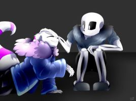 Night Terror Sans Petting Werecat Ttoba Sans by ThunderSkeleton13