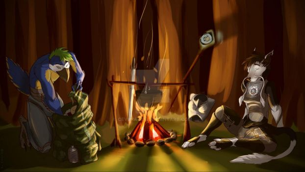 Camp in wood by Cevenagze