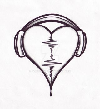Audio Heart Tattoo Design by PointOfYou