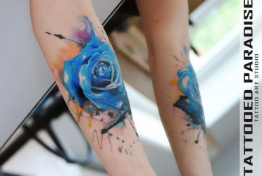 Blue watercolor rose by dopeindulgence