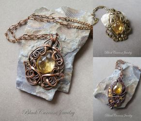 Three Citrine Pendants - copper and brass by blackcurrantjewelry