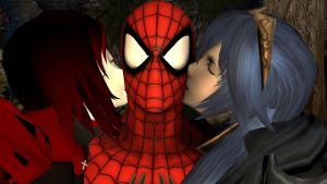 Spider-Man kissed by Lucina and Ruby Rose by kongzillarex619
