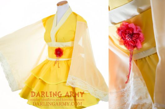 Belle Beauty and the Beast Yellow Kimono Dress by DarlingArmy