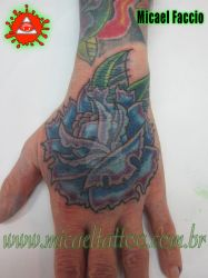 Rose Hand Tattoo Cold Colors by micaeltattoo