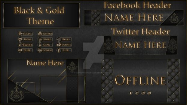 Black and Gold Theme Stream Overlay by Smitywitsenburgson