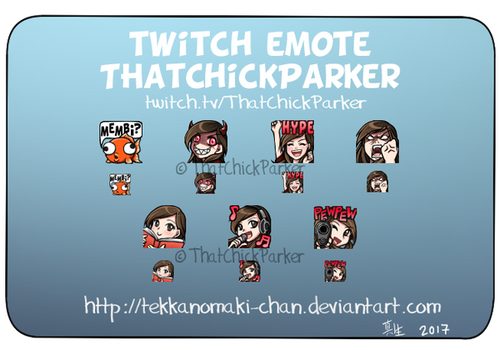 Commission: Twitch Emote for ThatChickParker by TekkanoMaki-chan