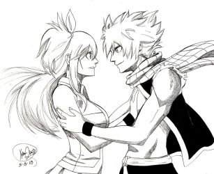 Lucy and Natsu (Black and White) by Maithagor