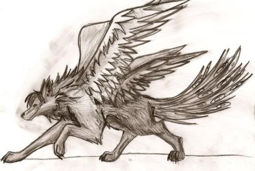 Peacock-Wolf thing in charcoal by Goldenhoof