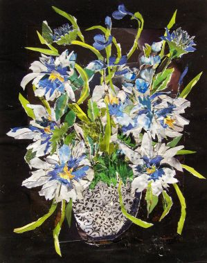 Blue Daisies with Vase by PhiLoan