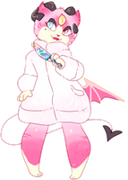 AESTHETIC ADOPT REVEAL: pastel demon cat by irlnya
