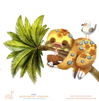 Daily Painting 1749# Sloth Butts - Starfish by Cryptid-Creations
