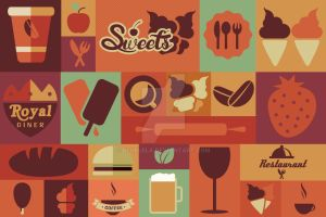 Collection of flat food icons by BlueLela