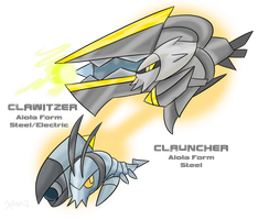 Alolan Clauncher and Clawitzer