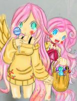 Human Fluttershy and Pinkie Pie by MinaWorld