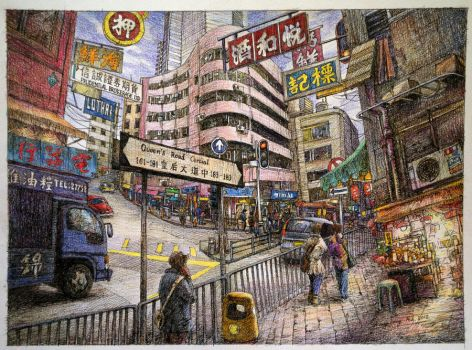 Hong Kong Queen's Road Central(Coloured) by LotharZhou
