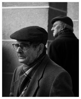 two old men by flax-