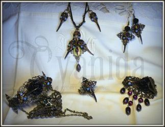 Steampunk post apocalyptic jewelry set by Cyanida