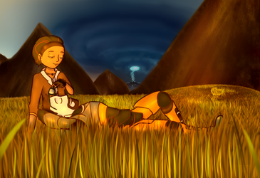 Alyx and Gordon in a Field by marikuna1998