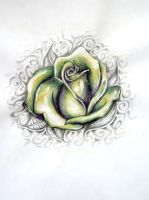 Green Rose Tattoo Design by ponychops