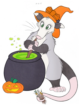 Halloween Opossum by tymime